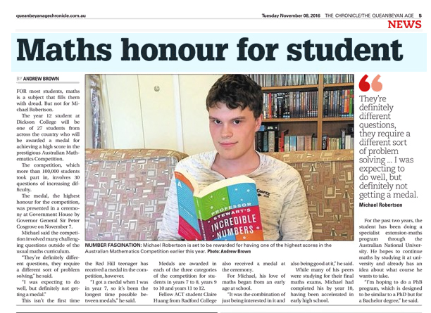 Top Maths Honour for DC student